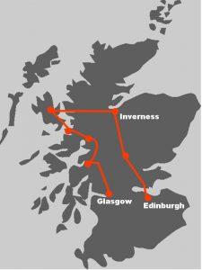 Die Routenkarte zeigt Ihnen, wo Sie unsere Bahnreise durch Schottland hinfuehren wird.