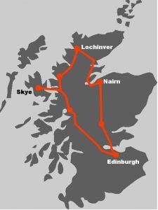 Die Route unserer Schotlandreise im Auto illustriert, wohin die Reise geht.