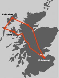 Die Karte illustriert, wo die Hebriden unserer Rundreise liegen.